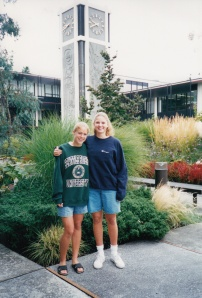 This is me at the beginning of my freshman year with my first roommate in front of Demaray Hall.