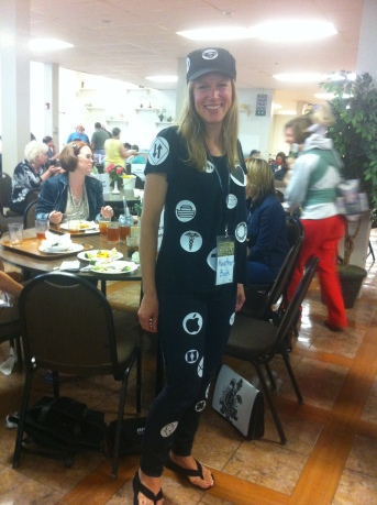 Here I am all decked out in symbols at a writers conference I attended...